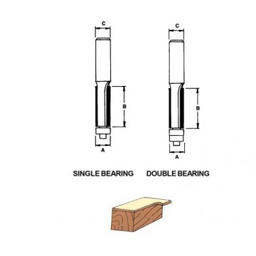 D-TECH TUNGSTEN CARBIDE ROUTER STRAIGHT BIT WITH BEARING GUIDE
