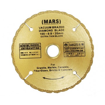 MARS SUPER SHARP VACUUM BRAZED DIAMOND CUTTING WHEEL - DRY AND WET