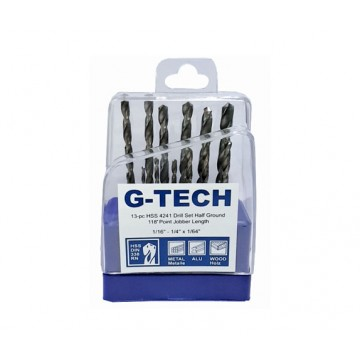 G-TECH HSS DRILL SET, HALF GROUND BRIGHT FINISH, FRACTIONAL SIZE