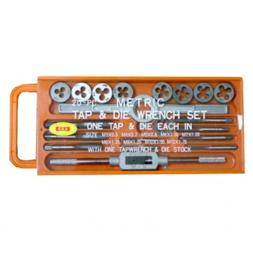 SKC 20-PC CARBON STEEL TAP AND DIE SET (IN PLASTIC CASE) - 20NC