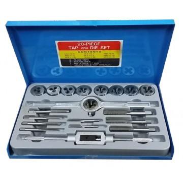 SKC 20-PC CARBON STEEL TAP AND DIE SET (IN METAL CASE) - 20DIN